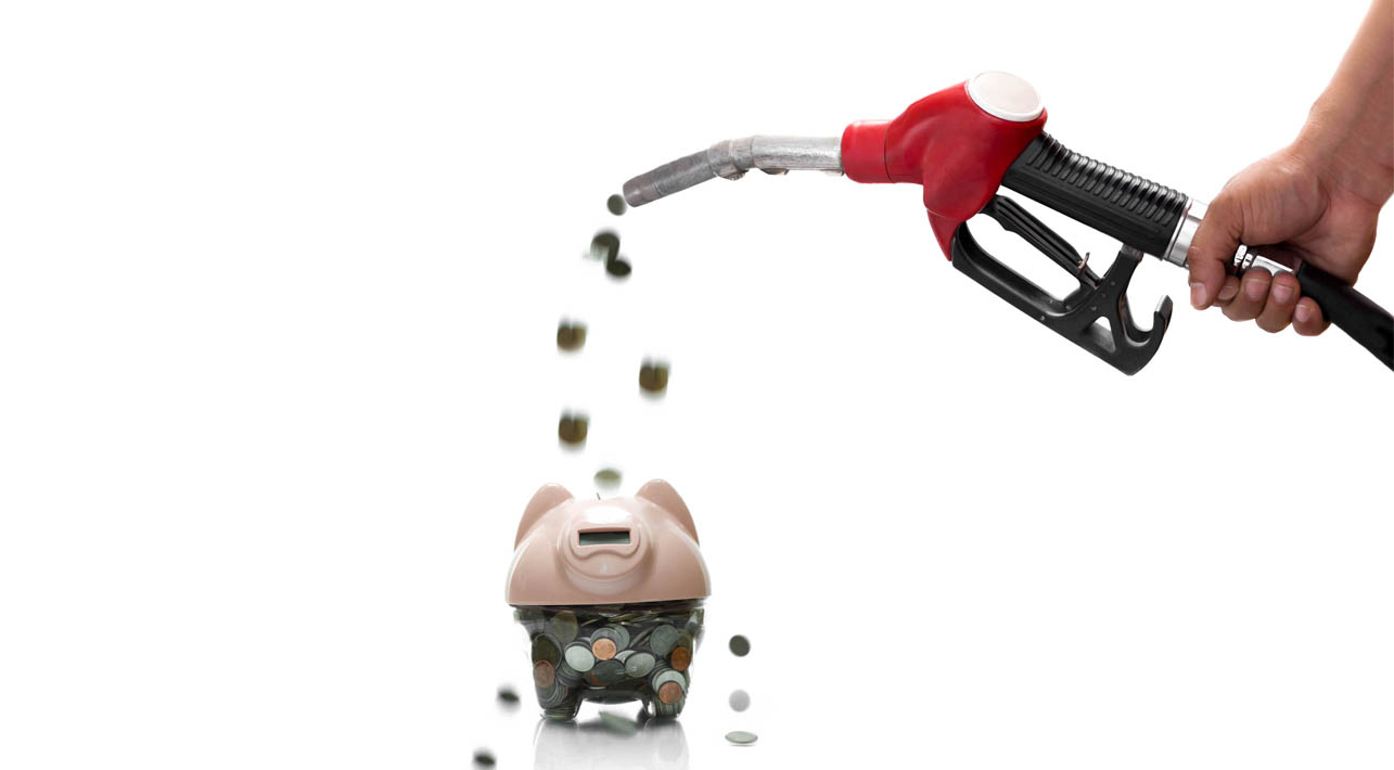 a man holding a fuel pump pouring cash into a piggy bank - symbolizing reducing fleet fuel costs