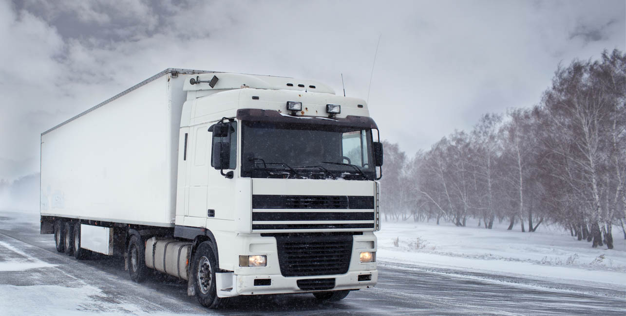 hgv driving on a winter road