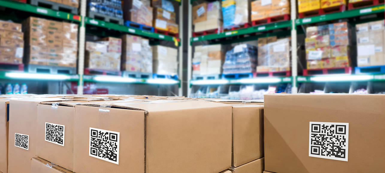 inventory on shelves and in boxes with QR codes