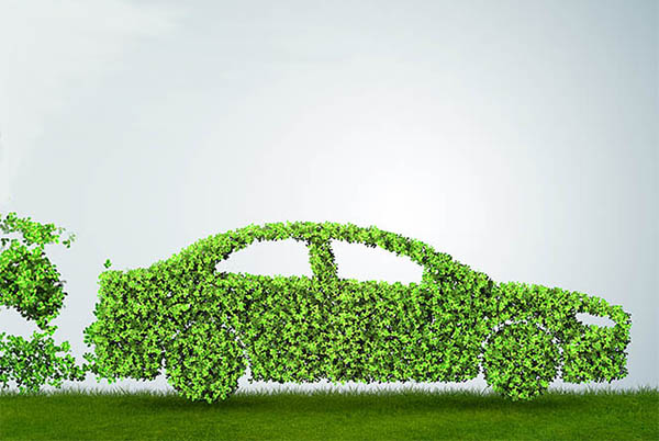 a green car symbolising reduced co2 emissions