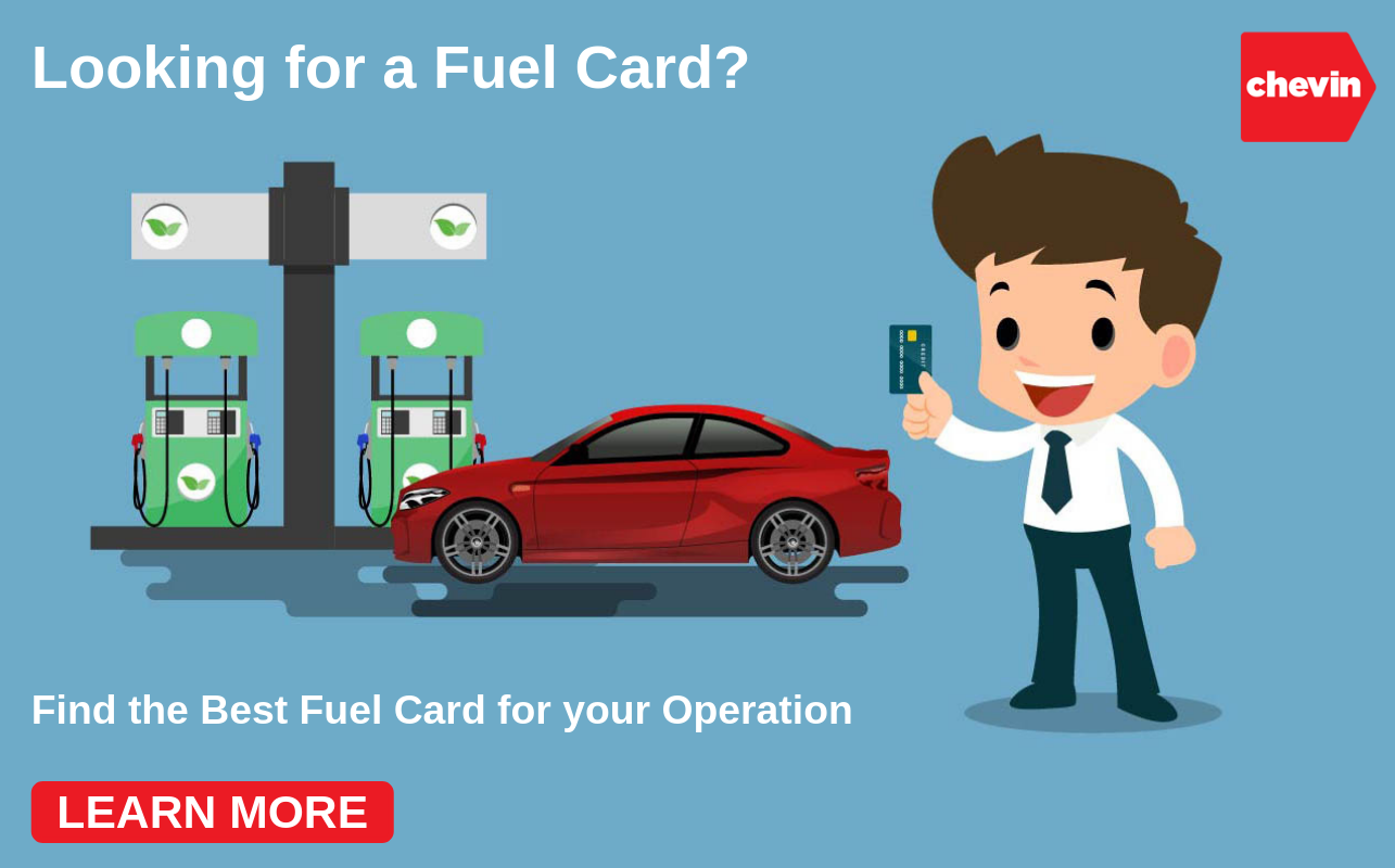 a cartoon man holding a fleet fuel card in front of his fleet vehicle at a pump